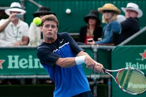 Ryan Harrison(USA) in action against Sam Querrey. Harrison took the match 6-4, 6-3 at the Heineken Open men's tennis tournament at the ASB Tennis Centre in Auckland. Photo / Richard Robinson