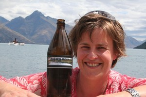 Rachel Beer's brew carries a picture of Lake Hayes ...  but she's barred from the Lake Hayes A&P Show's brewing competition because she's a woman. Photo / Mountain Scene