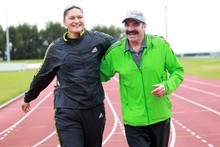 Valerie Adams is training in New Zealand with Swiss coach Jean-Pierre Egger for the first time. Photo / Doug Sherring