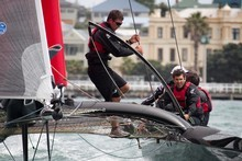 Emirates Team New Zealand out on the water in their SL33 catamarans. Photo / Natalie Slade