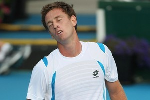 Michael Venus of New Zealand shows disappointment in his match against Santiago Giraldo of Columbia during day one of the 2012 Heineken Open at ASB Tennis Centre. Photo / Getty