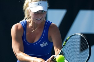 Sacha Jones in action against Elena Baltacha of Great Britain during the ASB Classic. Photo / Brett Phibbs