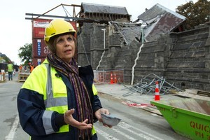 Jenny May, outside The Canterbury Provincial Buildings on Durham Street, Christchurch, says 'huge gaps' are appearing in Christchurch's identity. Photo / Simon Baker