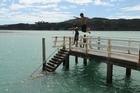 Kids swimming, inner harbour, Raglan, New Zealand. Photo / NZPA, Ross Setford