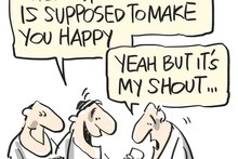 Drinking makes you happy, research has found. Cartoon / Rod Emmerson