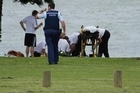 Police and paramedics at the Tauranga drowning. Photo / Sunlive.co.nz