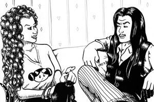 Hook Ups' Kowhai (left) & Monty Hook. Illustration / Hej Ganias