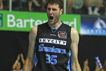 Alex Pledger of the Breakers celebrates a point. Photo / Getty Images