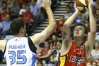Cameron Tragardh of the Melbourne Tigers takes a shot during the match against the NZ Breakers. Photo / Getty Images