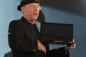 Intel VP Mooly Eden talks up ultrabooks at the Consumer Electronics Show. Photo / AFP
