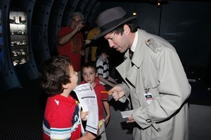 Detective Dick Sharp helps children work out whodunnit at Auckland Museum's The Poisoners. Photo / Supplied