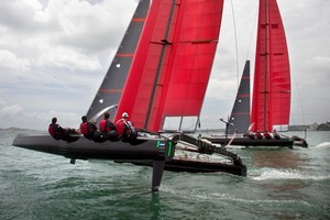 Team New Zealand's SL33 catamarans, prototypes of the cup boat they are developing. Photo / Natalie Slade
