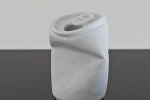 The small marble sculpture of a crushed gin and tonic can which was stolen from Sanderson Gallery in Parnell on Wednesday. Photo / supplied
