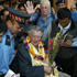 Mount Everest Conqueror, Sir Edmund Hillary on his arrival to a pandemonious reception at Kathmandu Airport  in a 2003 visit. Photo / Paul Estcourt