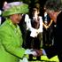 Queen Elizabeth II meets Sir Edmund Hillary at a garden reception at Government House, Mt Eden, Auckland, in 2002. Photo / Brett Phibbs