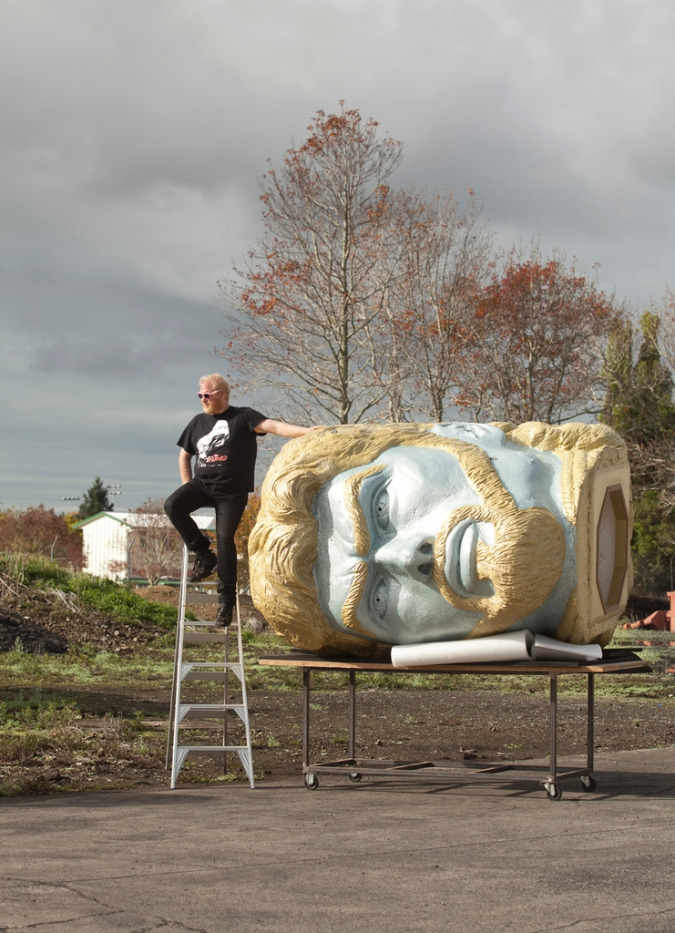 Grey Lynn artist Rohan Weallean's giant replica of Kevin Smith's head which he will be exhibiting along with 40 other works