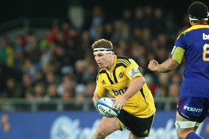 Brad Shields gets a run for the Hurricanes against the Brumbies, giving Beauden Barrett a rest. Photo / Getty Images