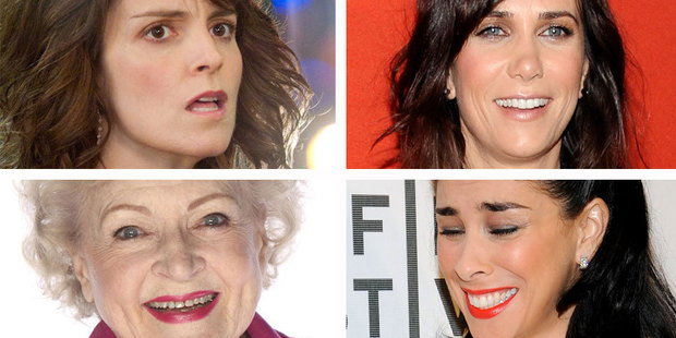 (Clockwise from top left) Tina Fey, Kristin Wiig, Sarah Silverman and Betty White. Photo / Supplied/AP