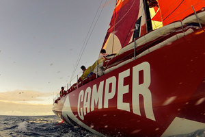 With three legs of the Volvo Ocean Race remaining, Chris Nicholson says Camper will not be throwing caution to the wind in search of the lead - yet. Photo / Hamish Hooper.
