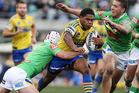 Chris Sandow of the Eels is tackled during the round 10 NRL match between the Canberra Raiders and the Parramatta Eels. Photo / Getty Images.