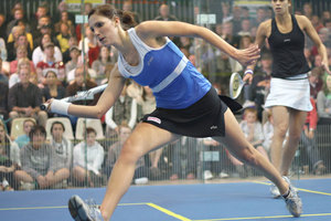 Jaclyn Hawkes has caused an upset in the first round of the British Squash Open. Photo / Jimmy Joe