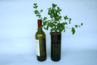 This self-watering herb planter was made out of an old wine bottle. Photo / Chris Cochrane
