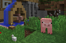 Minecraft looks identical to the PC version - like it was released in 1995. Photo / Supplied