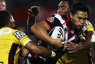 Jerome Ropati of the Warriors charges forward during the round nine NRL match between the New Zealand Warriors and the Brisbane Broncos. Photo / Getty Images.