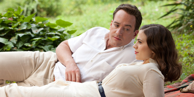 Matthew Macfadyen takes the lead role of Mountstuart in his middle age in Any Human Heart, with co-star Hayley Atwell. Photo / Joss Barratt