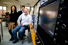 Sasha Rifaat, Iannick Monfils and Andy Stevens are part of Auckland University spin-off company Southern Photonics. Photo / Dean Purcell