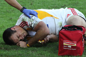 Richard Kahui of the Chiefs is treated after being injured. Photo / Getty Images