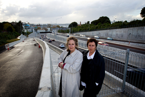 Christine Cavanagh (right) and fellow Herne Bay Residents Association member Julia Cahill say the loss of the Wellington St offramp is creating huge problems. Photo / Sarah Ivey