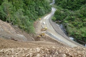 The fractured area on the Opotiki side of the slip blocking State Highway 2 through the Waioeka Gorge. Photo / NZTA