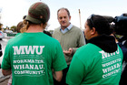 David Shearer talks to locked-out Affco workers on the picket line at Horotiu. Photo / Christine Cornege