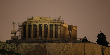 The Parthenon atop the Acropolis is a dead remnant of a civilisation that looks lost and forgotten in the daily life of Athens. Photo / AP