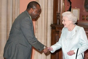 King Mswati III of Swaziland is greeted by Queen Elizabeth II. Photo / AP