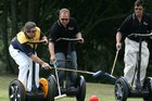 Steve Wozniak (L) in his 2006 Segway Polo tournament. He is playing against NZ tech entrepreneur Rod Drury (C) and Rodney Prescott. Photo / Brett Phibbs