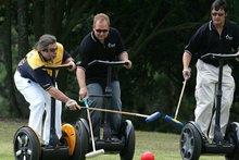 Steve Wozniak (L) in his 2006 Segway Polo tournament. He is playing against NZ tech entrepreneur Rod Drury (C) and Rodney Prescott. Photo / Brett Phibbs