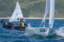 Jo Aleh and Polly Powrie have won the opening race of the 470 women's world championships off Barcelona, Spain. Photo / onedition