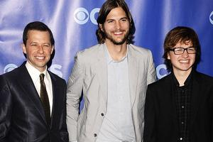 Jon Cryer, Ashton Kutcher and Angus T. Jones of sitcom Two and a Half Men. Photo / AP
