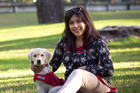 Sudeepta with guide dog puppy Quinn. Photo / Natalie Slade