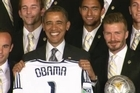 President Obama greets Major League Soccer champions, LA Galaxy, with star player David Beckham.