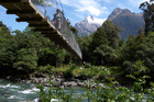 One of the Hollyford track's shorter swing bridges: the longest spans 100 metres. Photo / Pamela Wade