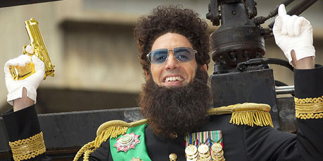 Sacha Baron Cohen in character as Admiral General Aladeen in The Dictator. Photo / AP