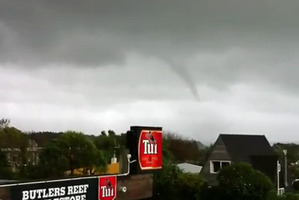 The Papamoa Beach twister followed hours after a waterspout was spotted off the coast of Taranaki yesterday morning (pictured). Photo / Youtube