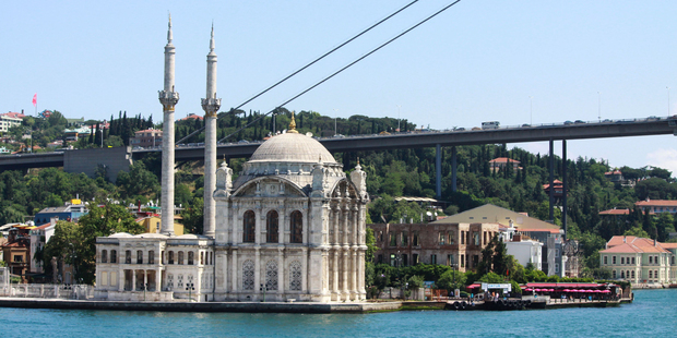 Ortakoy Mosque, built by an Ottoman sultan, is a vision of wealth and power. Photo / Jim Eagles