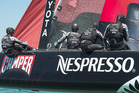 Emirates Team New Zealand in action during the Americas Cup World Series regatta in Venice. Photo / ETNZ