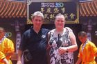 'That Blind Woman', Dunedin motivational speaker Julie Woods and her husband, Ron Esplin, enjoyed their Hong Kong experiences, even a 269-step climb in the heat. Photo / Ron Esplin