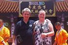'That Blind Woman', Dunedin motivational speaker Julie Woods and her husband, Ron Esplin, enjoyed their Hong Kong experiences, even a 269-step climb in the heat. Photo / Ron Esplin