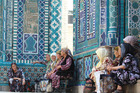 Pilgrims at Shahr-i-Zindah or the Tomb of the Living King, in Samarkand, Uzbekistan. Photo / Jim Eagles
